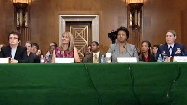 From left to right: Tennis player Billie Jean King, Olympic athlete Nancy Hogshead-Makar, astronaut Mae Jemison and Superintendent of the United States Coast Guard Academy Sandra L. Sosz testify before the Senate. (Source: U.S. Senate)