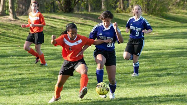 Girls from the Lake Forest Academy take on the North Shore County Day School in a varsity soccer match in the Chicago area. (Source: North Shore Country Day School/Flickr)