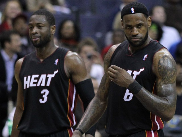 LeBron James (6) and Dwyane Wade (3) appear ready to claim the 2012 NBA title. (Source: Keith Allison/Flickr)