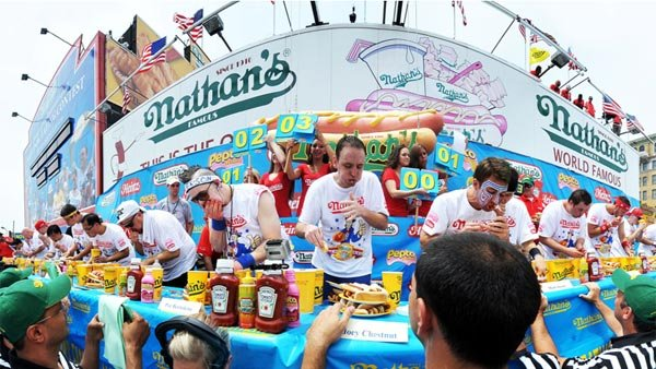 Nearly 30 of the world's greatest competitive eaters square off for the annual Fourth of July Nathan's Hot Dog Eating Contest at Coney Island.(Source: Major League Eating)