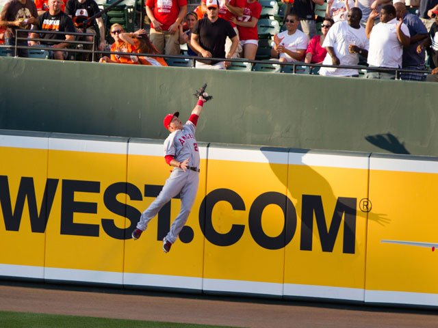 Mike Trout's home run-stealing catch in June is being called the best play of the MLB season. (Source: Keith Allison/Flickr)