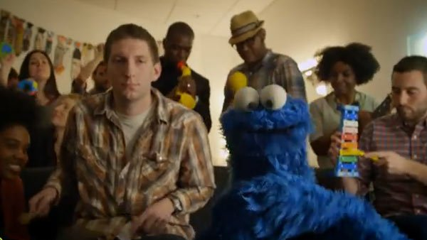 "Cookie and his band crank out ""Share it Maybe,"" an ode to the love of chocolate chip cookies. (Source: Sesame Street YouTube)"