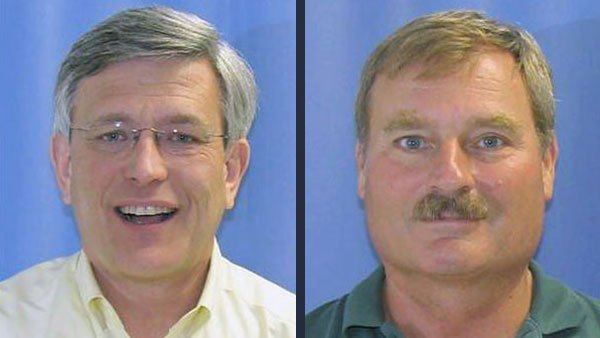 Penn State Athletic Director Tim Curley, left, and former VP Gary Schultz, right, are facing perjury charges for allegedly lying to a grand jury about knowing of child sex abuse allegations against Sandusky. (Source: CNN)