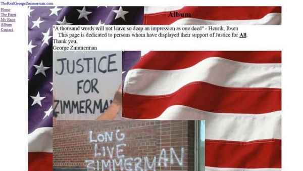 A screen grab of the original TheRealGeorgeZimmerman.com website.