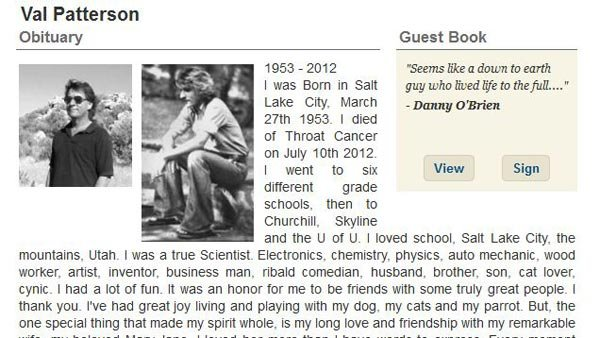 Val Patterson wrote his own obituary, which ran recently in the Salt Lake City Tribute. (Source: Legacy.com)