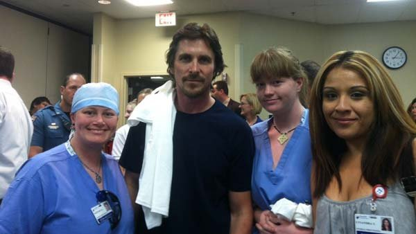 Christian Bale met with victims and staff at the Aurora Medical Center. (Source: Swedish Medical Center, @SwedishColorado) )