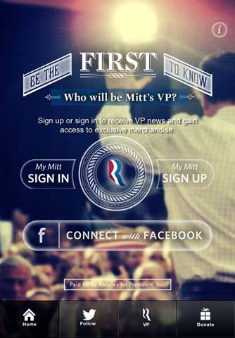 Mitt Romneys campaign released a smartphone app this morning called &quot;Mitts VP&quot; to announce who will be the Republican candidates choice for vice president.