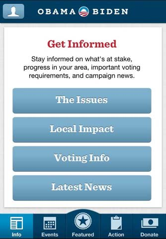 President Obama's re-election campaign also released a new smartphone app on Tuesday.