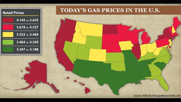 Gas prices have been steadily rising across the country, according to data from AAA. (Source: AAA)