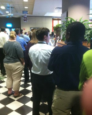 Customers lined up out the door of many Chick-fil-a locations, including this Chick-fil-a Express in Montgomery, AL. (Source: Brian Tynes)
