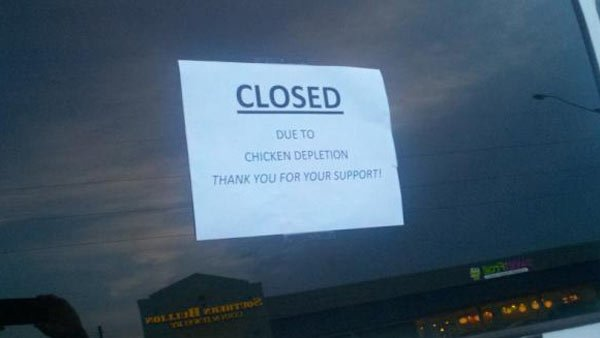 A Chick-fil-a in Prattville, AL shut down early after running out of chicken. (Source: WSFA 12 News)