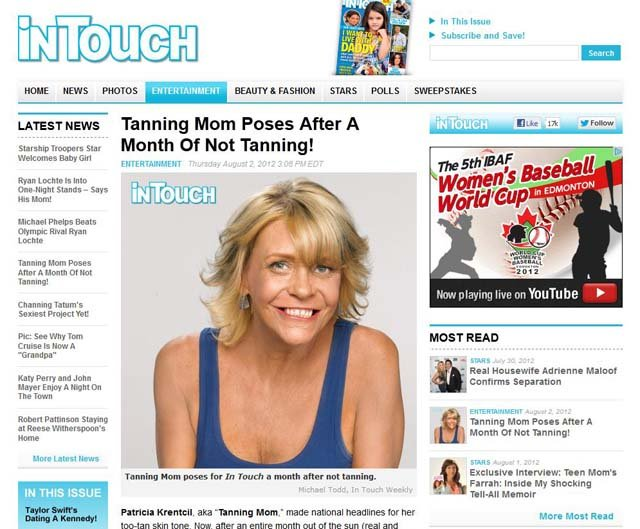 'In Touch' challenged 'tan mom' Patricia Krentcil to stop tanning for a month. (Source: www.intouchweekly.com)