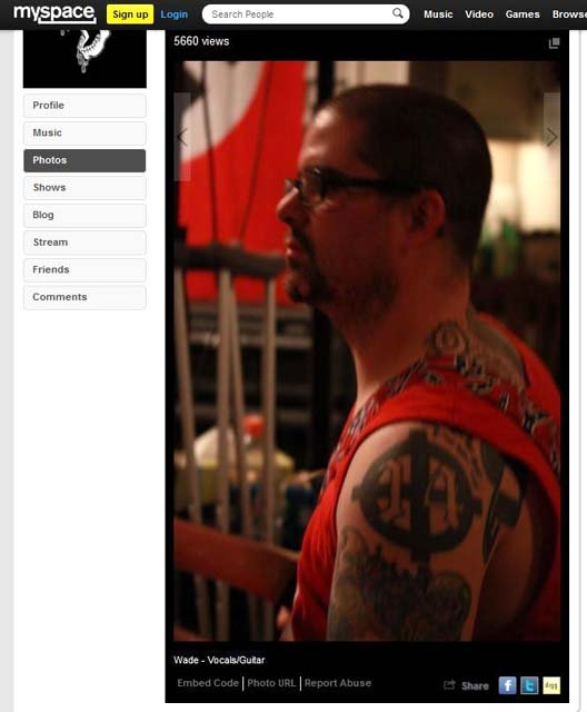 A photograph of Wade Michael Page on the MySpace page for the white power band End Apathy. (Source: MySpace)