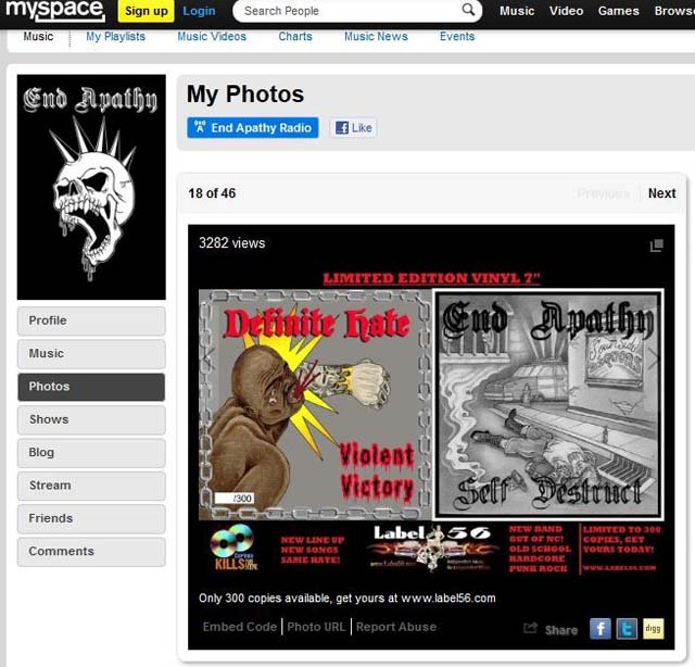 Two album covers are featured in the photo gallery on the MySpace page of the white power band End Apathy. (Source: MySpace)