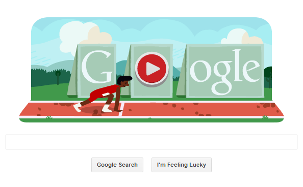 Screen grab of Google's homepage showing its interactive hurdler ready to spring from the blocks. (Source: RNN)