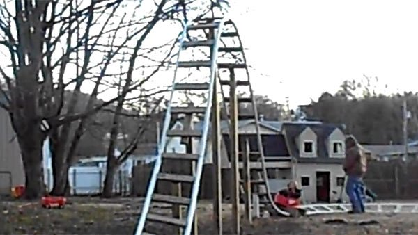 Jon and Natasha Cain gave their son possibly the best present ever - his own roller coaster. (Source: YouTube/makethesale1)