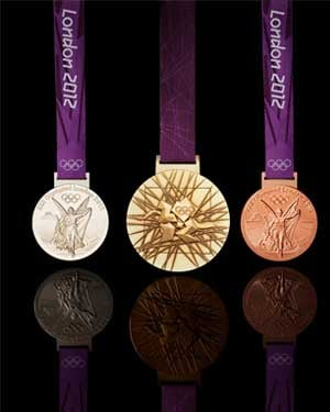 London 2012 Olympic medals designed by British artist David Watkins. (Credit: London 2012)
