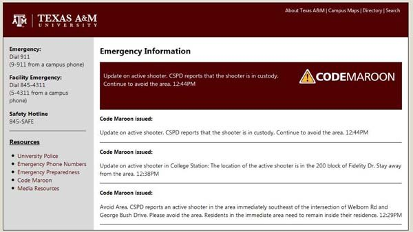 Texas A&amp;M issued a 'Code Maroon' about a shooting near campus. (Source: http://emergency.tamu.edu)