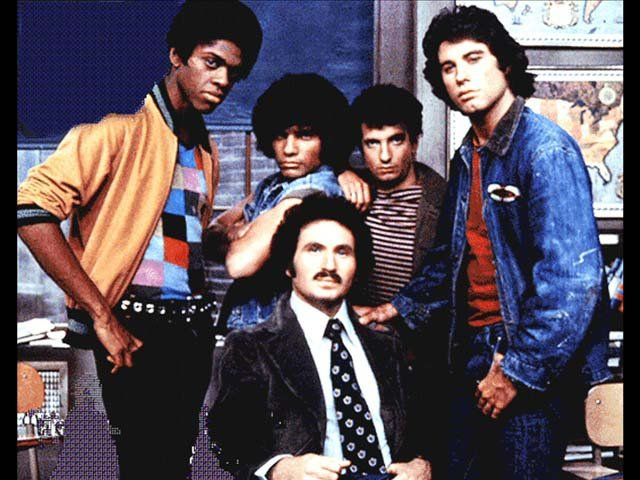 The cast of 'Welcome Back, Kotter, from right, Lawrence Hilton-Jacobs, Robert Hegyes, Ron Palillo, who died today, John Travolta and Gabe Kaplan in front. (Source: ABC)