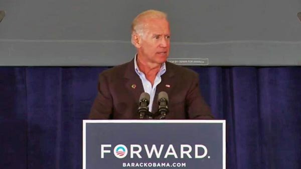 Vice President Joe Biden's comments at a campaign stop in Virginia are coming under fire from the Romney campaign. (Source: YouTube)