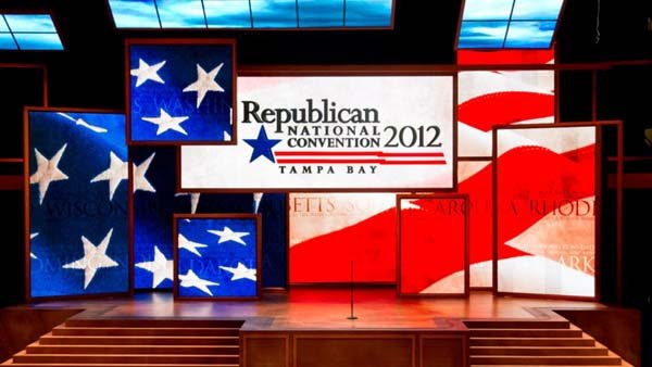 The podium is ready for speakers at the upcoming Republican National Convention in Tampa, Aug. 27 to 31. (Source: Republican National Convention/Facebook)