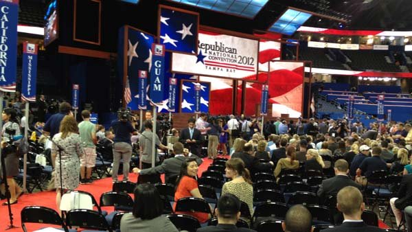 The opening session of the Republican National Convention in Tampa was sparsely attended due to Tropical Storm Isaac. (Source: Jennifer Bowen/RNN)