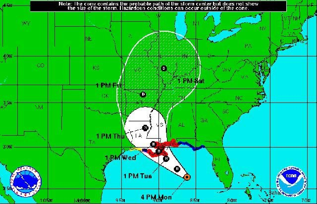 The National Hurricane Center is tracking the movement of Tropical Storm Isaac. (Source: NHC)
