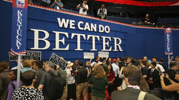 Ron Paul supporters threw an impromptu pep rally on the floor of the Republican National Convention Monday. (Source: Jennifer Bowen/Raycom News)