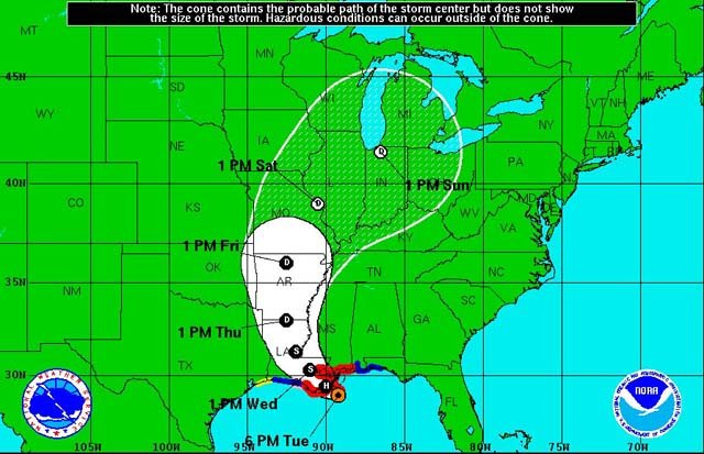 The National Hurricane Center released the latest tracking information for Hurricane Isaac at 2 p.m. ET. (Source: NHC)