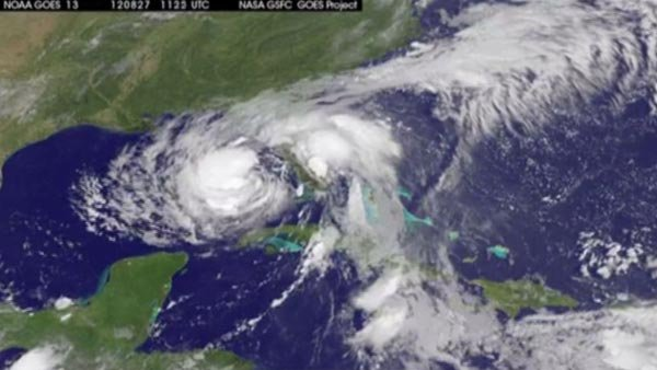 NASA satellites track Isaac's progress in the Gulf. (Source: CNN/NASA)