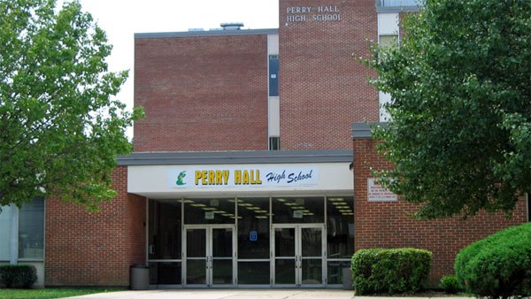 The entrance to Perry Hall High School, where a student was critically injured by gunfire on the first day back to school. (Source: Wikipedia)