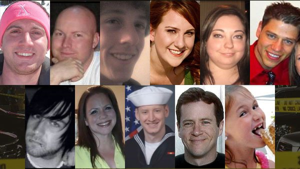 Eleven of 12 people killed in the Colorado theater. From top left: Alex Teves, Jesse Childress, Alex Boik, Jessica Ghawi, Micayla Medek, Jonathan Blunk, Matt McQuinn, Rebecca Wingo, John Larimer, Gordon Cowden and Veronica Moser-Sullivan. (Source: Fox)