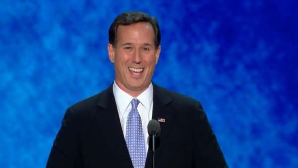 Former Pennsylvania Sen. Rick Santorum hit conservative issues during his speech to the Republican National Convention. (Source: CNN)