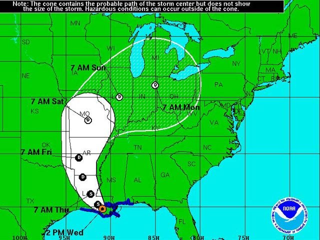 The National Hurricane Center is tracking Isaac as it moves through Mississippi and Louisiana; image shows path as of 2 p.m. CT. (Source:NHC)