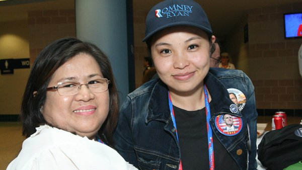 Cecilia Lifoifoi, left, and Claire Blanco, right, flew more than 18 hours to serve as alternate delegates at the Republican National Convention. (Source: Jennifer Bowen/RNN)