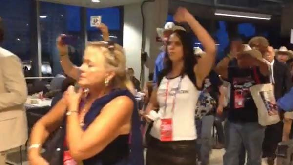Delegates for Ron Paul staged a second protest at the Republican National Convention in Tampa, FL on Wednesday. (Source: Jennifer Bowen/RNN)