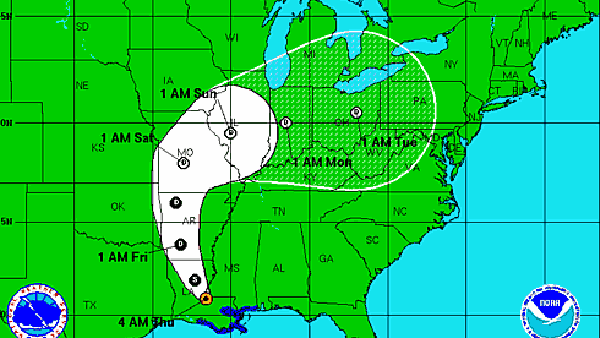 The National Hurricane Center is tracking Isaac as it moves through Louisiana and Arkansas; image shows path as of Thursday afternoon. (Source:NHC)