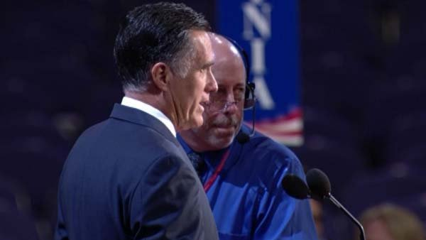 Mitt Romney rehearses at the Tampa Bay Times Forum for his big speech Thursday night. (Source: CNN)