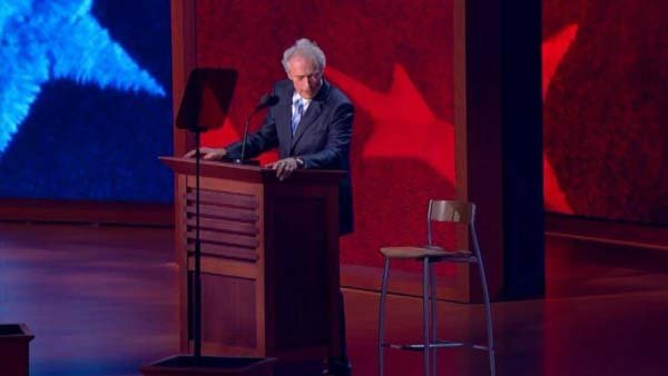 Clint Eastwood's speech where he addressed an empty chair as if President Obama were sitting in has spawned a new internet meme. (Source: CNN)