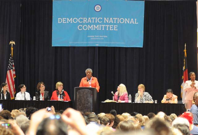 CNN's  Donna Brazile and Florida Rep. Debbie Wasserman Schultz spoke at a women's caucus event at the Democratic National Convention. (Source: Cecelia Hanley/RNN)