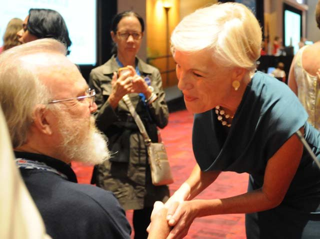 Cecile Richards, right, president of Planned Parenthood, also spoke at the caucus. (Source: Cecelia Hanley/RNN)