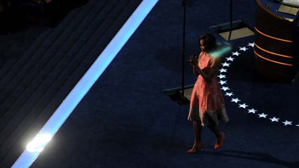Michelle Obama gave an inside look on her husband's presidency in her speech Tuesday. (Source: Cecelia Hanley)