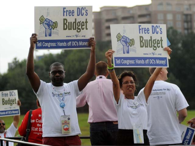 Volunteers from Washington DC held a rally to advocate for Washington to become the 51st state. (Source: Cecelia Hanley)