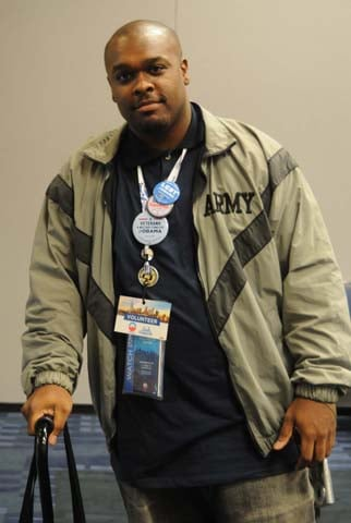Curtis Gipson is an Iraq War veteran who is volunteering at the Democratic National Convention. (Source: Cecelia Hanley/RNN)