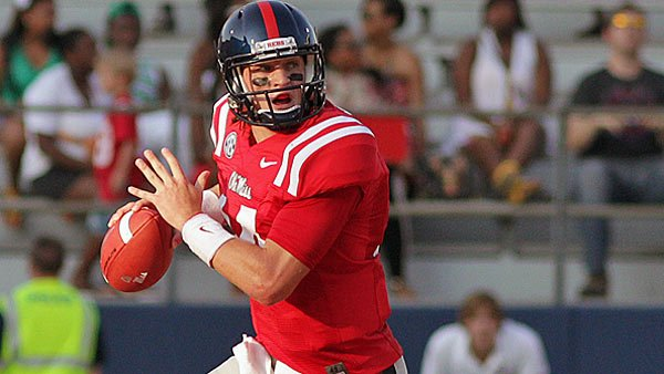 Rebels QB Bo Wallace is already the big man on campus, but his star will rise even higher if his team topples the Longhorns. (Source: Joshua McCoy/Ole Miss Athletics)