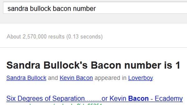 Google has built the popular movie trivia game Six Degrees of Kevin Bacon into its search engine. (Source: Google)