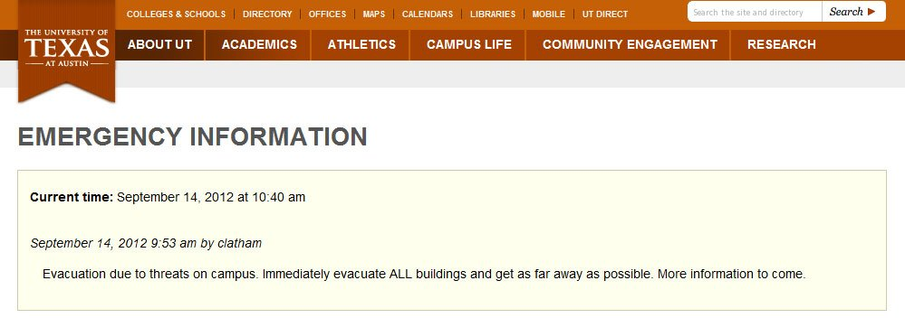 University of Texas in Austin sent out an emergency message after a bomb threat was called in Friday. (Source: UT-Austin)