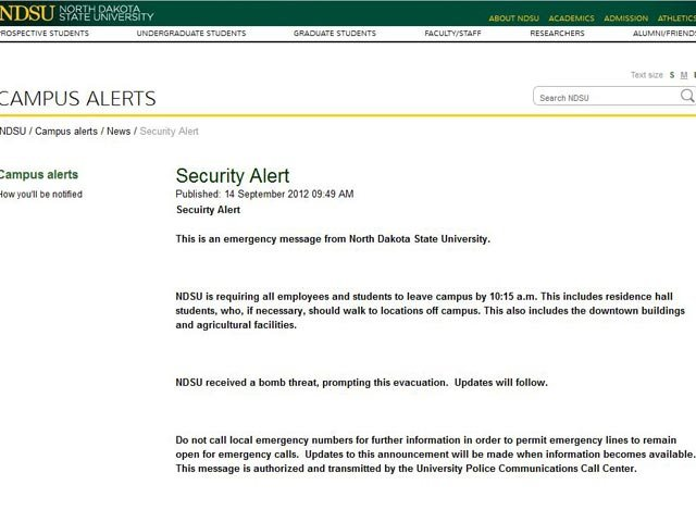 North Dakota State University issued an emergency alert on its website Friday following a bomb threat. (Source: ndsu.edu)