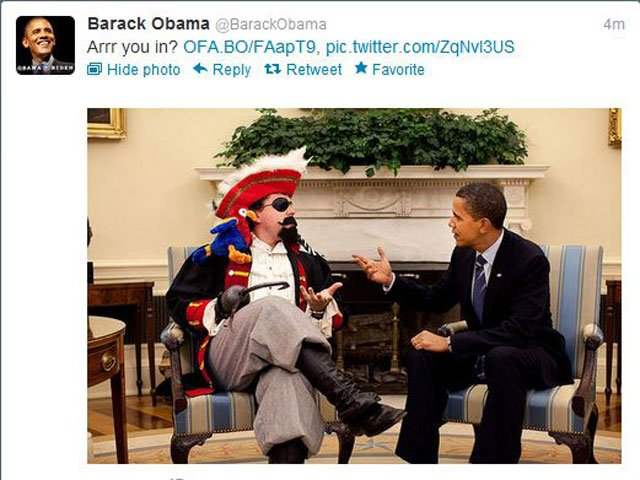 The Obama campaign courting the pirate vote on their Twitter feed. (Source: Twitter)