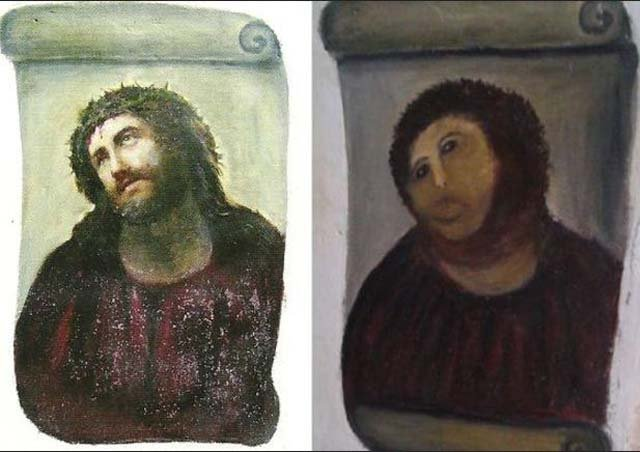 "The early 20th century painting of Jesus Christ got a bad makeover and a new name, ""Ecce Mono"" or ""Behold the Monkey."" (Source: Wikipedia)"